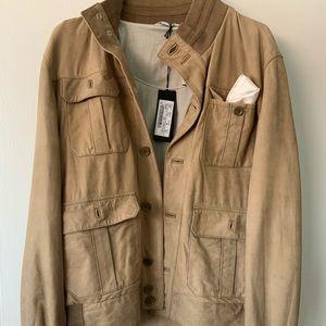 NWT. Tan Italian leather jacket.JeyColeMan size 40